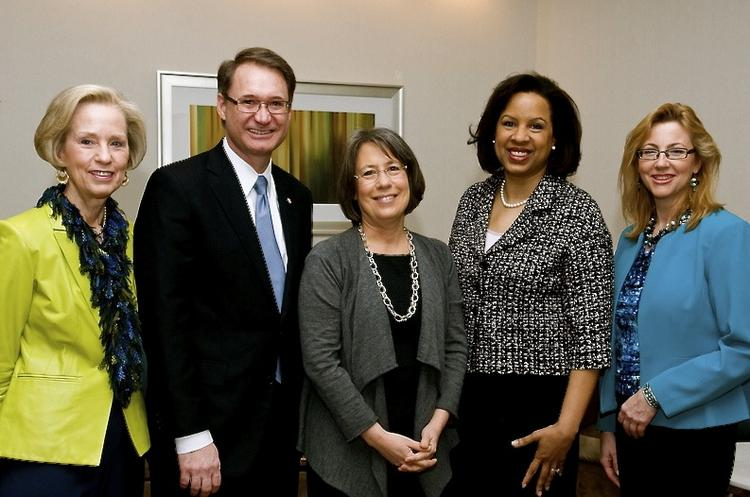 The Women's Center held its 27th annual Leadership Conference on March 9 at the McLean Hilton. More than 700 people attended. From left, Sally Turner of CGI, George Schindler of CGI, Sheila Bair, Toni Townes-Whitley of CGI and Women's Center CEO Carol Loftur-Thun.
