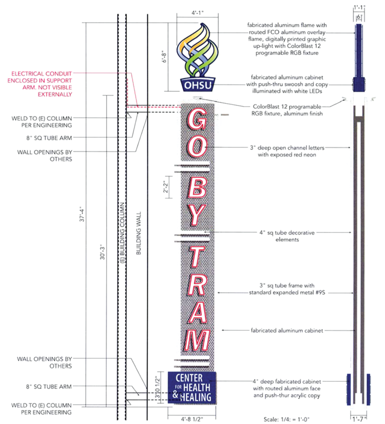 An architectural rendering of the proposed GO BY TRAM sign.