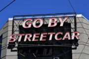 The GO BY STREETCAR sign in the Pearl District.