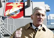 Former U.S. Sen. John Warner, R-Va., tours the Hampton Roads Naval Museum and the Battleship Wisconsin. Warner was in Hampton Roads for the keel-laying ceremony for the Virginia-class attack submarine pre-commissioning unit John Warner (SSN 785).