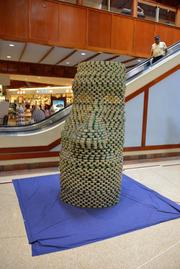"""Moai"" by Richard Matsunaga & Associates Architects was the judged to be the Juror's Favorite at AIA Honolulu's Canstruction fundraiser at Pearlridge Center on Oahu."