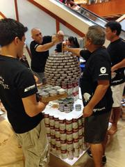 The team from Coffman Engineers works on its replica of the Taj Mahal at AIA Honolulu's Canstruction fundraiser at Pearlridge Center on Oahu.