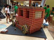 """Join the Race to DRIVE Out Hunger"" by ADM Retail Planning & Architecture took honorable mention at AIA Honolulu's Canstruction fundraiser at Pearlridge Center on Oahu."
