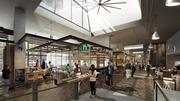 """The ground floor of 400 Fairview will be a public gathering place with a """"street-side market"""" of local retailers. The hall will have three 40-foot-tall skylights."""