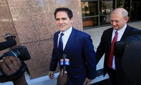 Mark Cuban, owner of the Dallas Mavericks basketball team and a panelist on <em>Shark Tank</em>, exits federal court in Dallas on September 30.