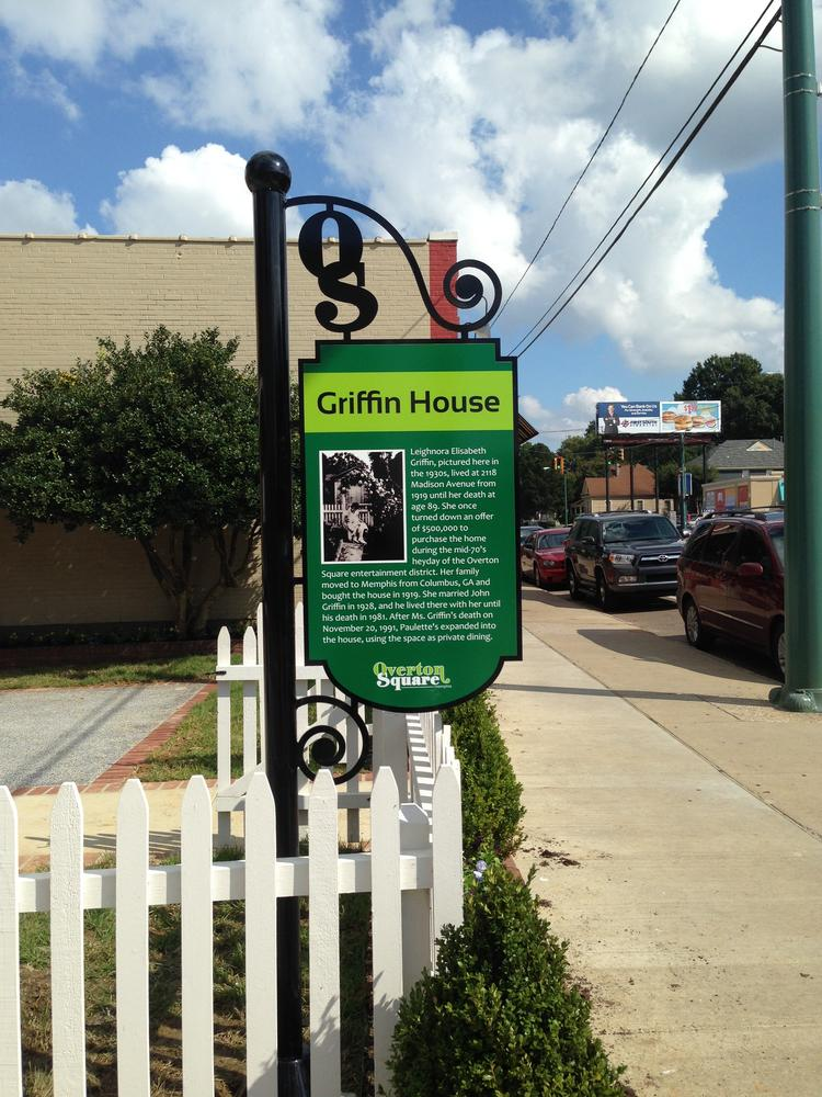 The sign at Griffin House highlights the new design in Overton Square.