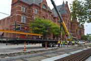 The streetcar will be 8 feet wide around the entire route, and the tracks are being placed on top of reinforced steel and ties.