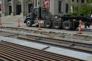 The route should be completed from the first rail on Elm Street (pictured) up to Henry Street near Findlay Market by the end of the year.