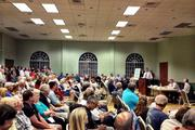 A city meeting about beach erosion in December attracted a lot of participants.