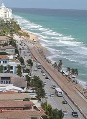 An aerial view in December shows Fort Lauderdale beach erosion looking north.