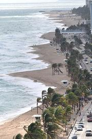 Fort Lauderdale beach erosion looking south from Sunrise Boulevard in December shows how the beach was scoured.