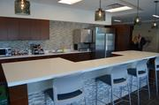 This coffee bar is one of many places for Teva employees to gather in the new building.