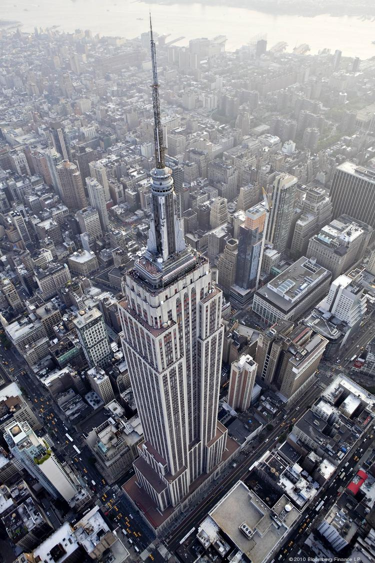 The Empire State Building stands in this aerial photograph taken over New York.