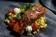 Mesquite roasted salmon with a fresh corn, basil, mozzarella  salad is one of the items that will be available.