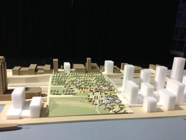 A model of the Philadelphia waterfront project.