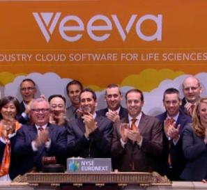 Veeva CEO Peter Gassner and others from the life sciences software company rang the opening bell at the New York Stock Exchange Wednesday after raising nearly $261 million in an IPO.