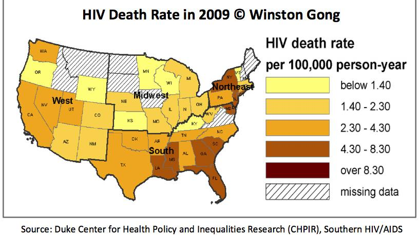 South Including NC Has A Lower HIVAIDS Survival Rate Than - Hiv us map