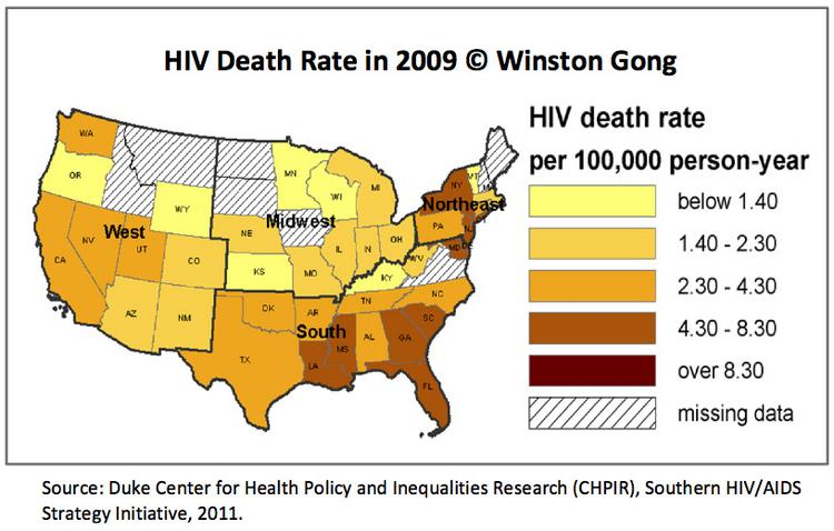 HIV death rate by state in 2009