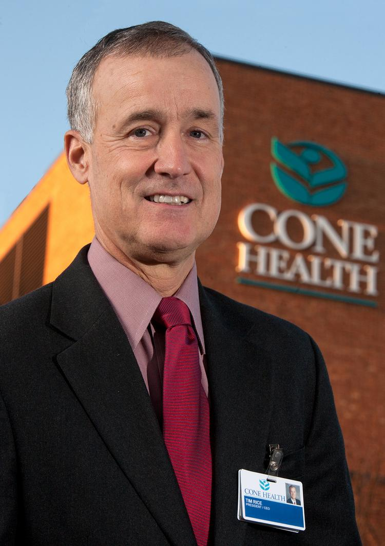 Time Rice, CEO of Cone Health, plans to retire at the end of the year.