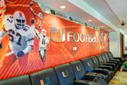 The football player lounge at the University of Miami.