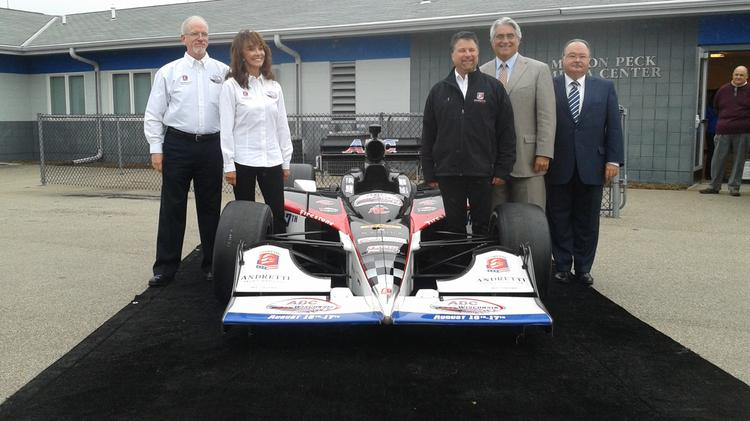 Diane Hendricks (second from left) took the Milwakee Mile IndyCar race title sponsor role for her company ABC Supply.