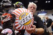 Reg Kittrelle of LS2 Helmets holds a retro design with a universal message.