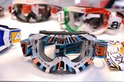 A colorful display of goggles by Italy's Ariete company