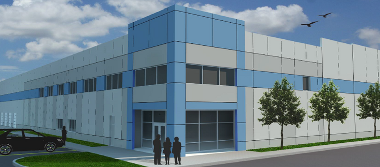 The site at 8235 Patuxent Range Road was formerly home to an Owens Corning asphalt shingle plant. Feld Entertainment will house circus concessions at a warehouse on the site, depicted in this rendering.