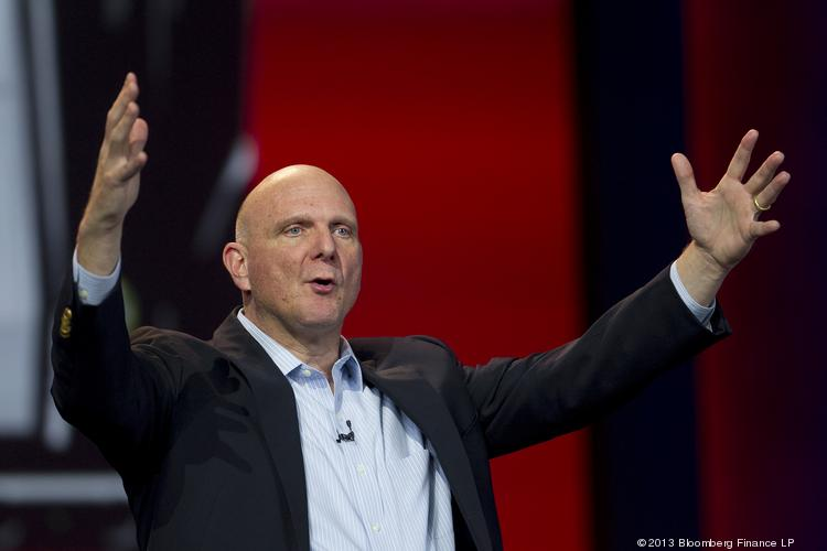 Steve Ballmer, CEO of Microsoft Corp., has a reason to be happy. Microsoft reported higher third-quarter earnings than analysts expected Thursday, despite a dramatic drop in PC sales.