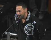 """This Raider fan recited the Raider Nation poem for the Oakland City Council. The poem is called """"The Autumn Wind"""" and was written by former NFL Films President and co-founder Steve Sabol."""