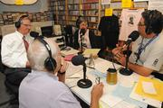 Clockwise, from bottom: John Alves, chairman of the Hawaii Public Radio board; board member Ken Robbins; Joan Canfield, classical announcer and Ray Cruise, assistant operations manager, in the HPR-2 studio during the launch of HPR's fall pledge drive.