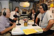 From left, John Alves, chairman of the Hawaii Public Radio board; board member Ken Robbins; Joan Canfield, classical announcer and Ray Cruise, assistant operations manager, in the HPR-2 studio during the launch of HPR's fall pledge drive.