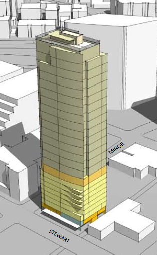 GIS International Group officials on Wednesday announced that they're planning to build a hotel-condo project at the southwest corner of Stewart and Minor in downtown Seattle. This is an early rendering of a hotel-condo tower that the Seattle office of GIS was planning to build there, but GIS shelved the project after the real estate market tanked.