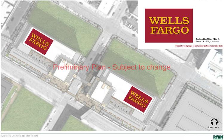 Wells Fargo is working with Ryan Cos. US Inc. on a new office development between downtown and the stadium. Renderings show rooftop Wells Fargo signs.