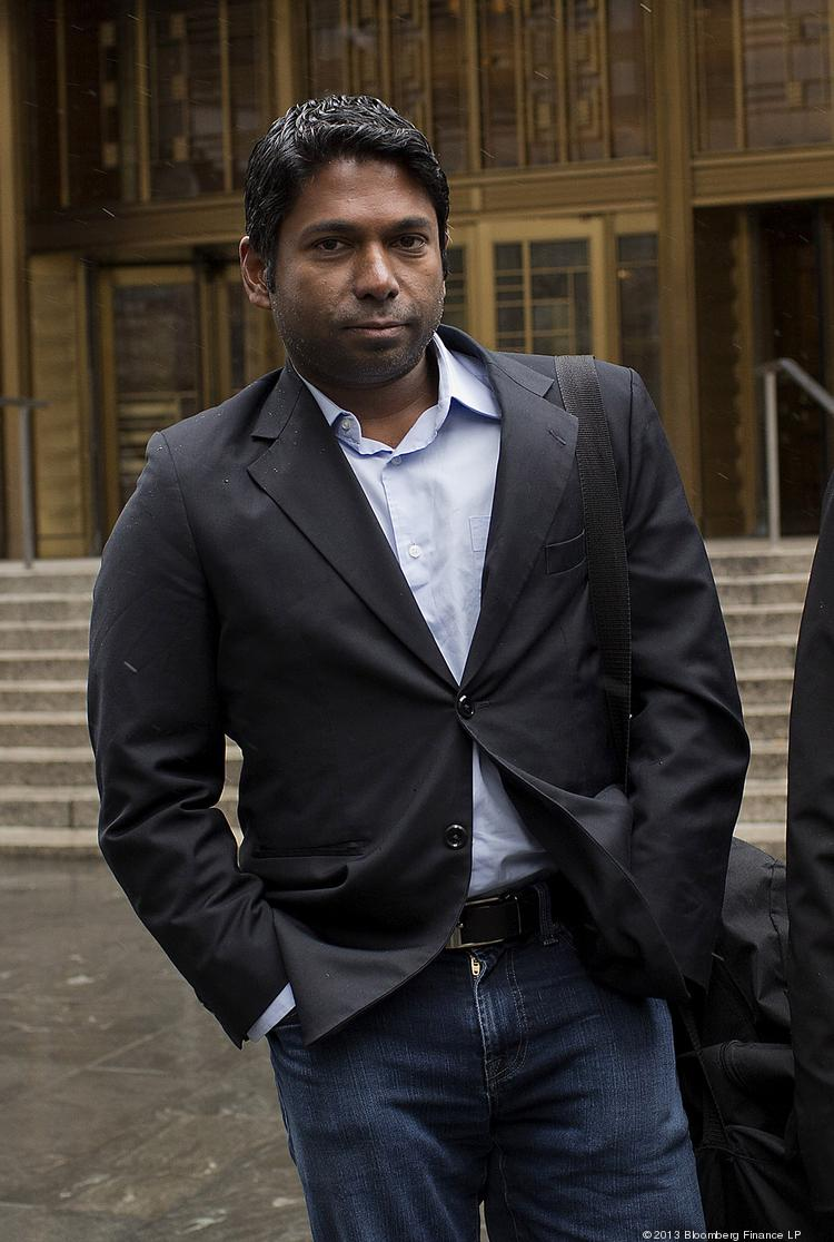 Rengan Rajaratnam, founder of Sedna Capital Management and the younger brother of imprisoned hedge-fund founder Raj Rajaratnam, exits federal court in New York, U.S., on Monday. Rengan Rajaratnam pleaded not guilty to charges that he took part in an insider-trading scheme tied to his brother's fund, Galleon Group.