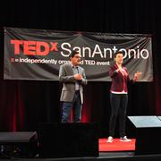 Victor Landa, founder & editor of News Taco, and Molly Cox, chief engagement office of SA2020, co-emcee TEDxSanAntonio 2013.
