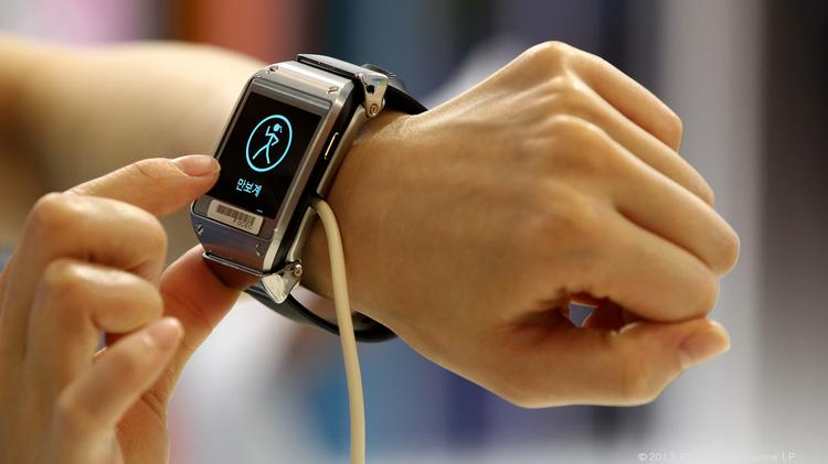 Apple rival Samsung Electronics has already developed its Galaxy Gear smartwatch, shown here at a company launch event in Seoul, South Korea last fall.
