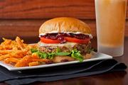 The burger spot features turkey burgers in addition to its specialty-blended burger.