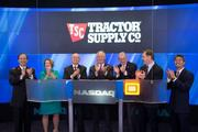 On Oct. 10, Tractor Supply Company rang the Opening Bell at the NASDAQ MarketSite in New York City's Time Square, in celebration of the Company's 75th anniversary.  From left: Tony Crudele, Chief Financial Officer; Cindie Jamison, Lead Director of the Board; Jim Wright, Executive Chairman of the Board and former Chief Executive Officer; Greg Sandfort, President and Chief Executive Officer; and Joe Scarlett, former Chairman of the Board and former Chief Executive Officer