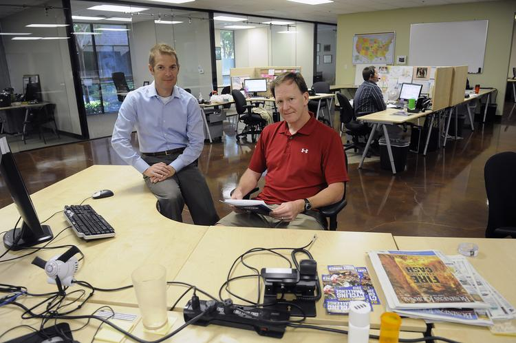 CoreLogic veterans Andrew Battistessa, left, and Kraig Clark began Auqeo three years ago. The company provides sales staff and office space for tech startups.