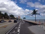 Restored beach along A1A in Fort Lauderdale, including bike lane, parking, two lanes of traffic and a turn lane.