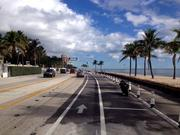 Restored beach along A1A in Fort Lauderdale, showing the bike lane in foreground.