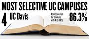 No. 4. UC Davis. The campus admits 86.3 percent of applicants with high school GPAs of 4.0 and above. The overall admission rate is 46.3 percent.