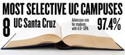 No. 8. UC Santa Cruz. The campus admits 97.4 percent of applicants with high school GPAs of 4.0 and above. The overall admission rate is 63.8 percent.