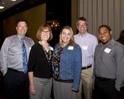 Gary Gery, Karen Cicak, Alisa Cota, Christopher Brown and Paul Kona Lewis of DLR Group pose at the Business Journal's Best Places to Work awards Tuesday. DLR Group placed as an honoree in the micro companies category.