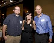 Aeron Terry, Emily Sheldon and Lance Loveday of Closed Loop pose at the Business Journal's Best Places to Work awards Tuesday. Closed Loop won second place in the micro companies category.