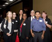 Nicole Fulton, Melissa Drake, Ruperta Kaihau, Mazita Sannoh, Richard Hernandez, Marcelino Cisneros and Breand Kirian, all of Hyatt Regency Sacramento, pose at the Business Journal's Best Places to Work awards Tuesday. The Hyatt won in the large companies category.