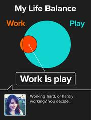 Visitors to the website of Portland startup Vizify can create Vizcards. This example shows how a user conveys her attitude toward work-life balance.