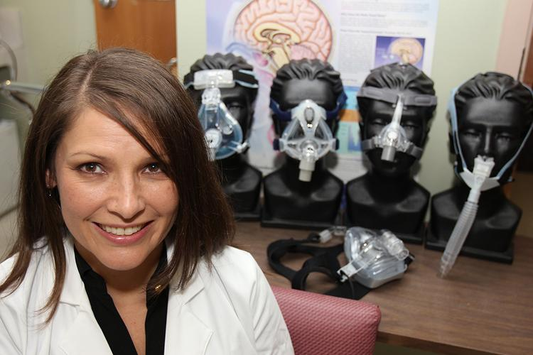 Risa Richardson, clinical neuropsychologist at James A. Haley Veterans Hospital, in the sleep disorder lab.