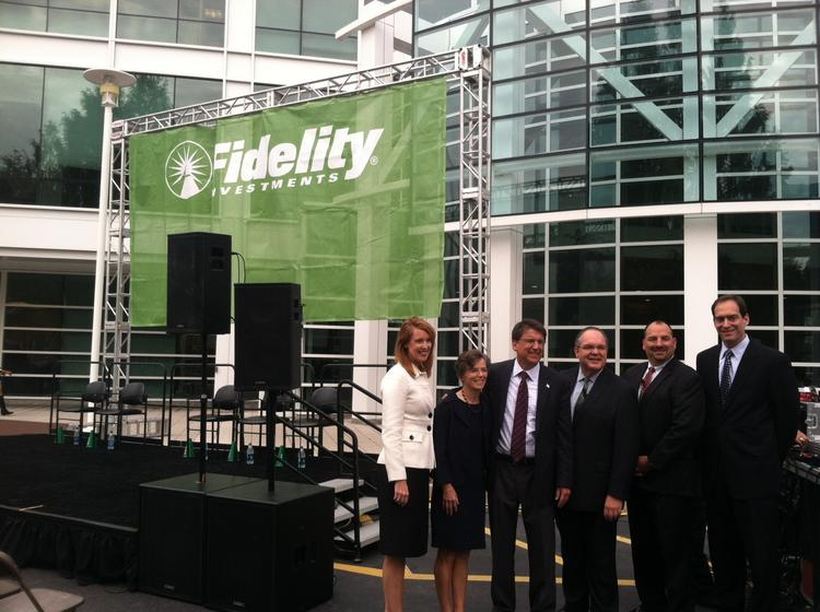 From left to right: Leslie Walden, VP of government relations and public policy; Deb Walsh, Fidelity N.C. region co-leader; Gov. Pat McCrory; Ron O'Hanley, president of asset management; Steve McCarthy, N.C. region co-leader; and J.J. Johnson, EVP of public affairs and policy